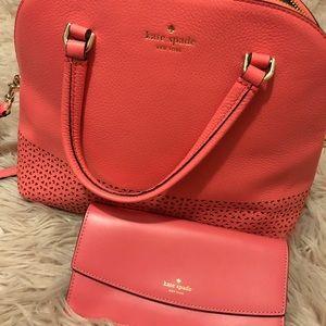 NEW Flamingo Pink Kate Spade handbag and wallet